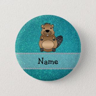 Personalized name beaver turquoise glitter 6 cm round badge