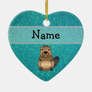 Personalized name beaver turquoise glitter ceramic heart decoration