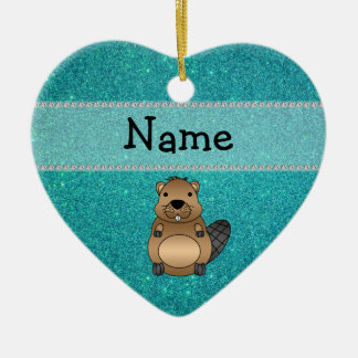 Personalized name beaver turquoise glitter christmas ornament