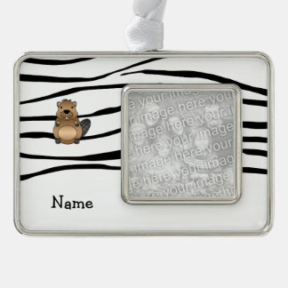 Personalized name beaver zebra stripes silver plated framed ornament
