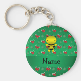 Personalized name bee green candy canes bows basic round button key ring