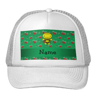 Personalized name bee green candy canes bows trucker hat