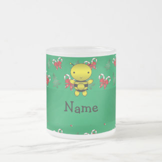 Personalized name bee green candy canes bows frosted glass coffee mug