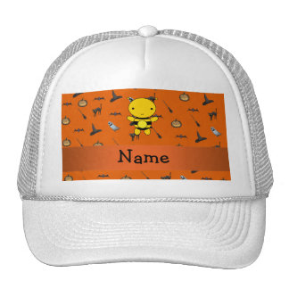 Personalized name bee halloween pattern trucker hat