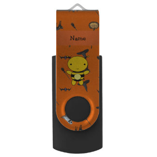 Personalized name bee halloween pattern swivel USB 2.0 flash drive