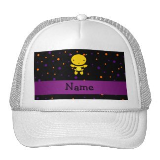Personalized name bee halloween polka dots trucker hat
