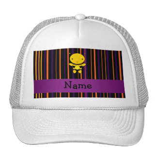 Personalized name bee halloween stripes trucker hat