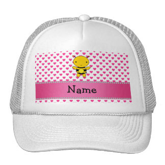 Personalized name bee pink hearts polka dots trucker hat