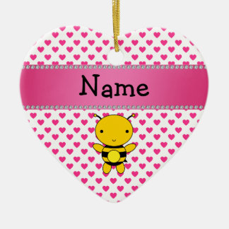Personalized name bee pink hearts polka dots christmas ornament