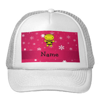 Personalized name bee pink snowflakes trucker hat
