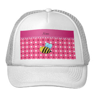 Personalized name bee pink white polka dots trucker hat