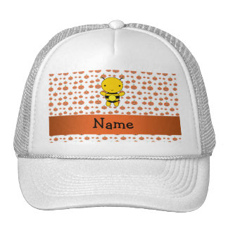 Personalized name bee pumpkins pattern trucker hat