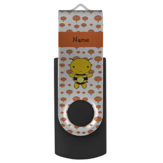 Personalized name bee pumpkins pattern swivel USB 2.0 flash drive