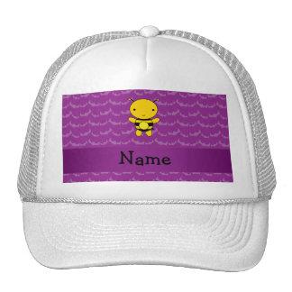Personalized name bee purple bats trucker hats