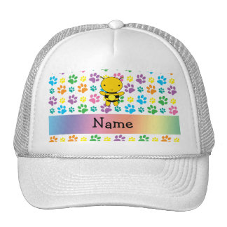 Personalized name bee rainbow paws mesh hats