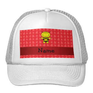 Personalized name bee red christmas trees trucker hat