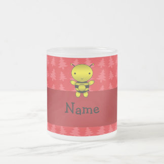 Personalized name bee red christmas trees frosted glass mug