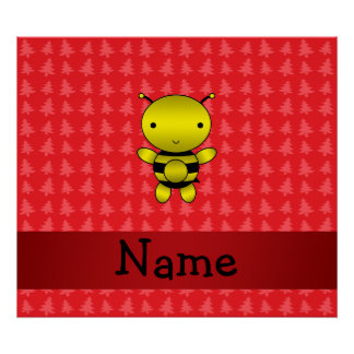 Personalized name bee red christmas trees posters