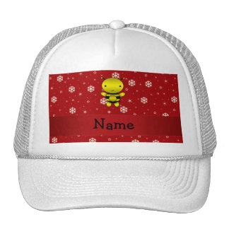 Personalized name bee red snowflakes trucker hat