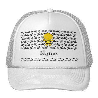 Personalized name bee skulls pattern trucker hat