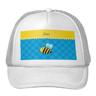 Personalized name bee sky blue circles trucker hat