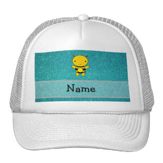 Personalized name bee turquoise glitter trucker hat