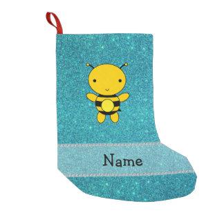 Personalized name bee turquoise glitter small christmas stocking