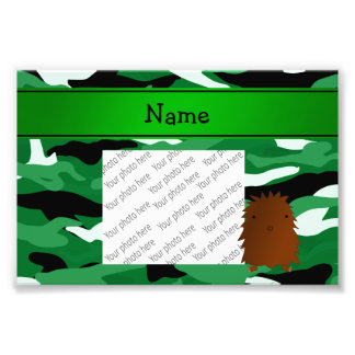 Personalized name bigfoot green camouflage photo print