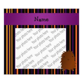 Personalized name bigfoot halloween stripes photo art