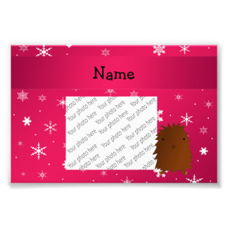 Personalized name bigfoot pink snowflakes photograph