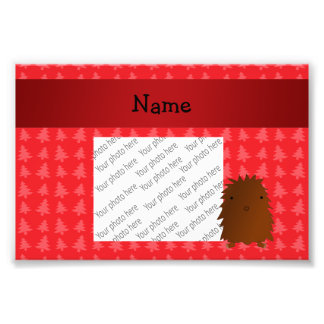 Personalized name bigfoot red christmas trees art photo