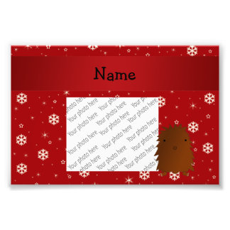 Personalized name bigfoot red snowflakes photo print