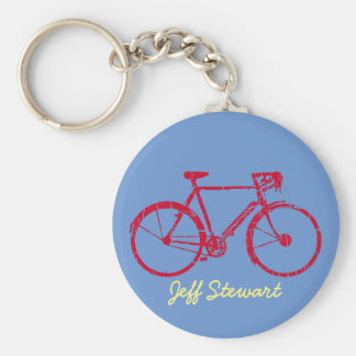 personalized name bike basic round button key ring