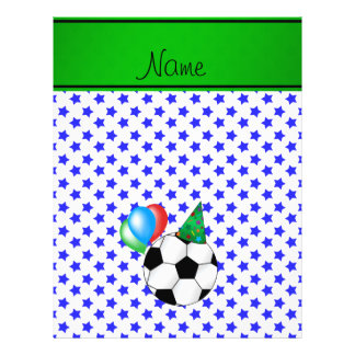 Personalized name birthday soccer blue stars personalized flyer