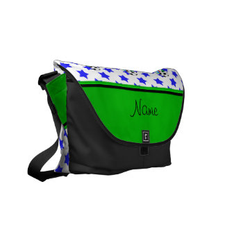 Personalized name birthday soccer blue stars courier bag