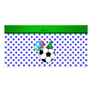Personalized name birthday soccer blue stars photo greeting card