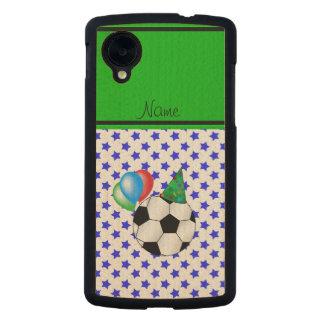 Personalized name birthday soccer blue stars carved® maple nexus 5 slim case