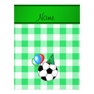 Personalized name birthday soccer green checkers flyer