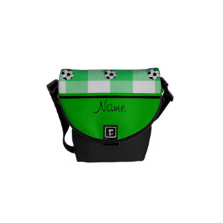 Personalized name birthday soccer green checkers messenger bag
