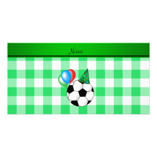 Personalized name birthday soccer green checkers picture card