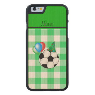 Personalized name birthday soccer green checkers carved® maple iPhone 6 case