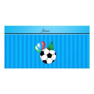 Personalized name birthday soccer sky blue stripes photo card template