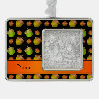 Personalized name black acorns silver plated framed ornament