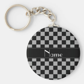 Personalized name black and grey checkers key ring
