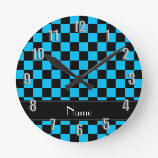 Personalized name black and light blue checkers wallclock