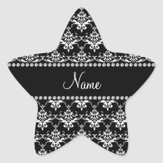 Personalized name black and white damask sticker