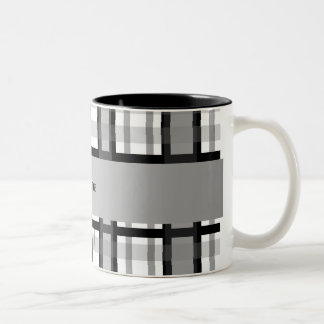 Personalized name black and white plaid mugs