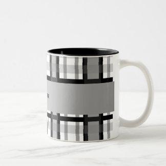 Personalized name black and white plaid mugs