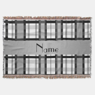 Personalized name black and white plaid throw blanket