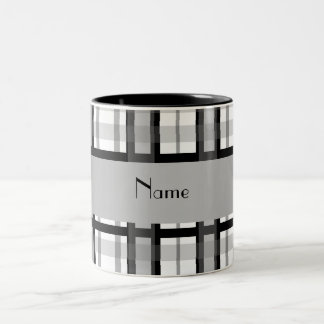 Personalized name black and white plaid Two-Tone mug